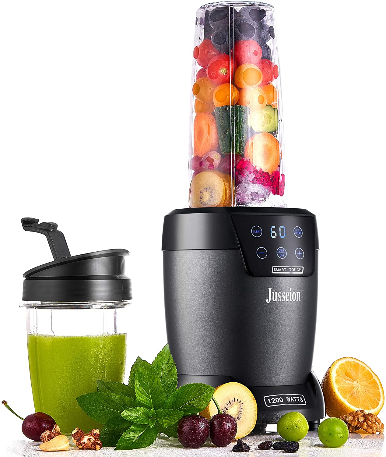 Smoothie Blender, 1200W Personal Bullet Blender for Shakes and Smoothies, Touch Screen with Programmable Digital Count-Down Timer, 18 and 35 Oz On The Go Cups with To-Go Lids, Midnight Blue