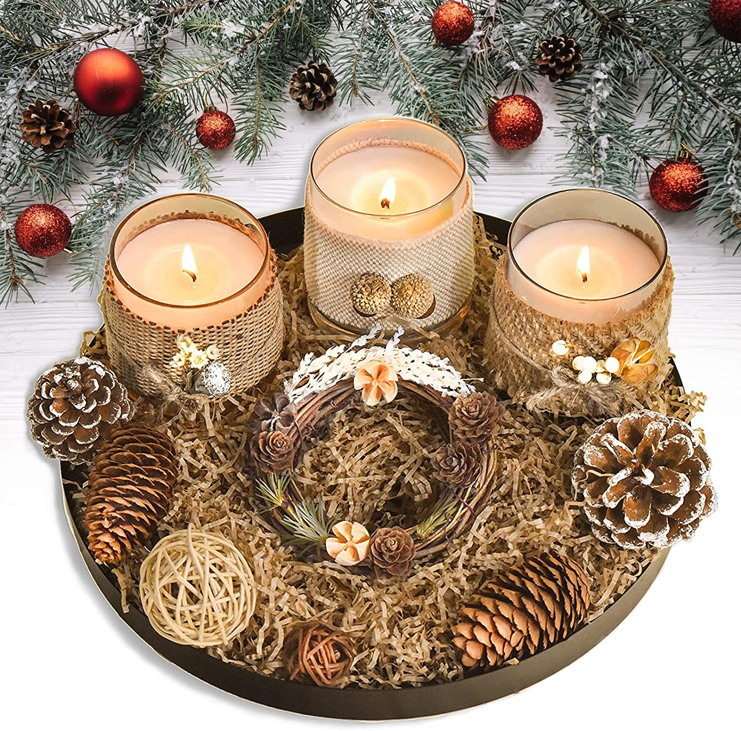 Le Sens Amazing Home Candle Holder Set House Decor Centerpiece 11 inches, Festive Wedding Rustic Family Candles Marriage Ceremony Candles Burlap Lace Pinecones Scented Candle Set (Wreath)