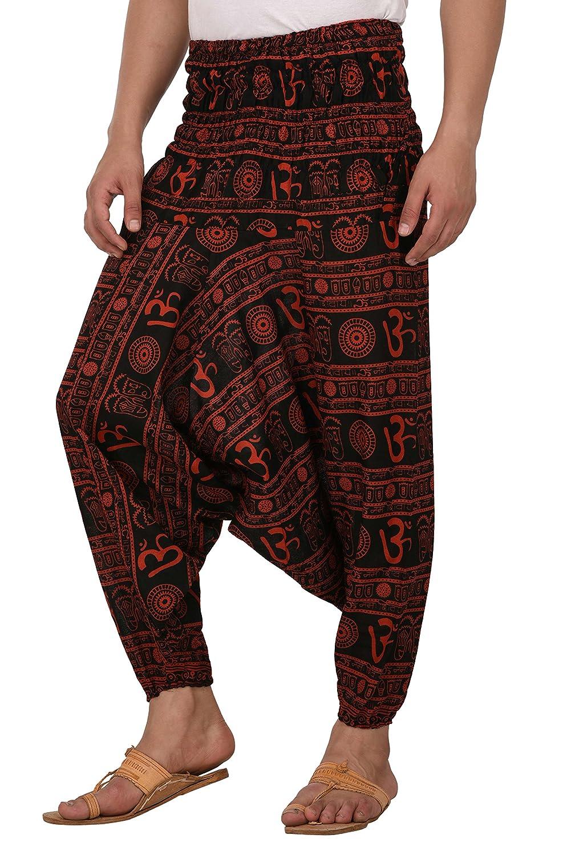 b1c620bb9b7 Amazon.com  Kiara Men Women Premium Quality Cotton Baggy Hippie Boho Gypsy  Aladdin Yoga Harem Pants with Pockets - Om Print (Blue)  Clothing