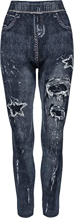All Leggings One Size: Either 10-18 or 10-16 Womens Leggings Skinny Stretchy Leggings Jeggings Incredible Fit High Waist Stretch Jeggings Printed Denim Look