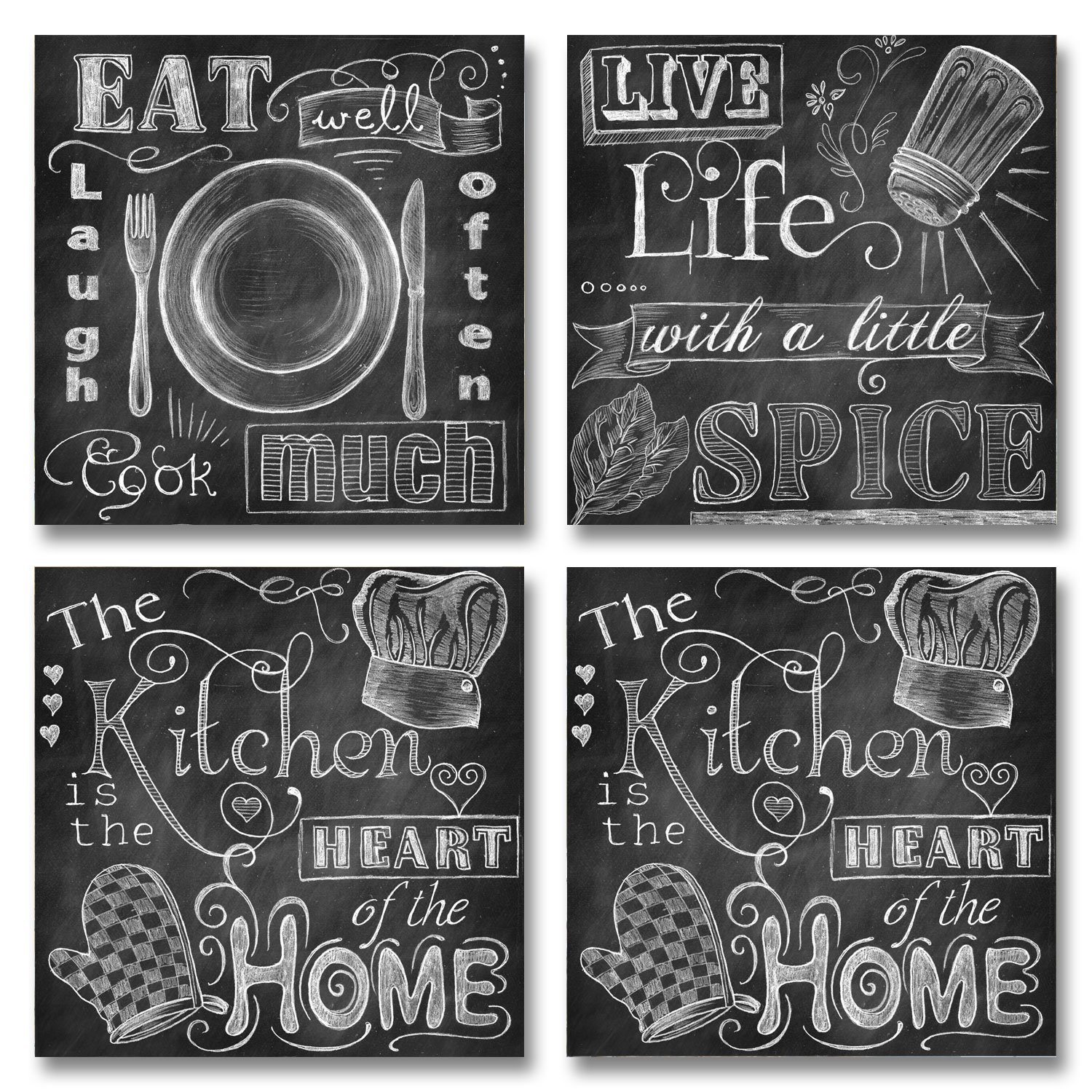 Beautiful, Fun, Chalkboard-Style Kitchen Signs; Messy Kitchen, Heart of the Home, Spice of Life, and Cook Much; Four 8x8in Paper Poster Prints (Printed on paper made to look like chalkboard) Gango Home Decor