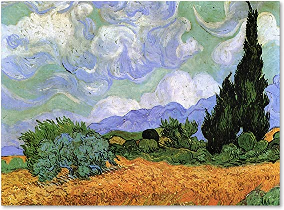 ART PRINT Yellow Wheat and Cypresses Vincent Van Gogh 24x19