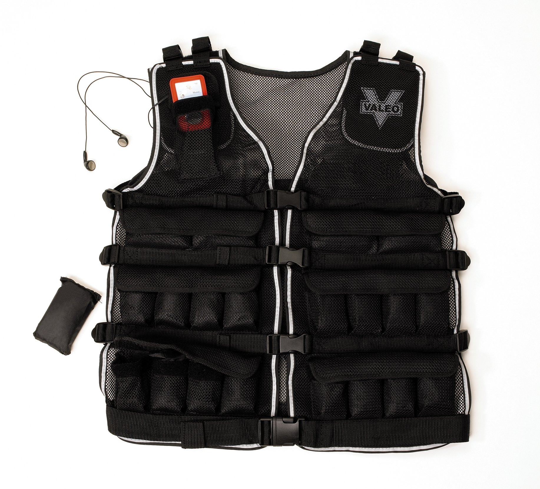 Valeo 20-Pound Weighted Vest With Removable 1 Pound Packs For Adjustments From 1 to 20 Pounds, VA4480BK