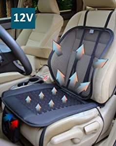 ObboMed SA-4270 12V Cooling Ventilated Breathable Air Flow Car Seat Fan Cushion, with Adjustable Lumbar Mesh Support, Special Fitting for Car, Automobile, Vehicle Long Drive Solution