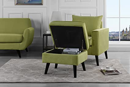 Mid-Century Brush Microfiber Modern Living Room Large Accent Chair with Footrest/Storage Ottoman & Amazon.com: Mid-Century Brush Microfiber Modern Living Room Large ...