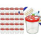 25er Set Sturzglas 350 ml To 82 Fliegenpilz Deckel rot weiß gepunktet incl. Diamant Gelierzauber Rezeptheft Marmeladenglas Einmachglas Einweckglas