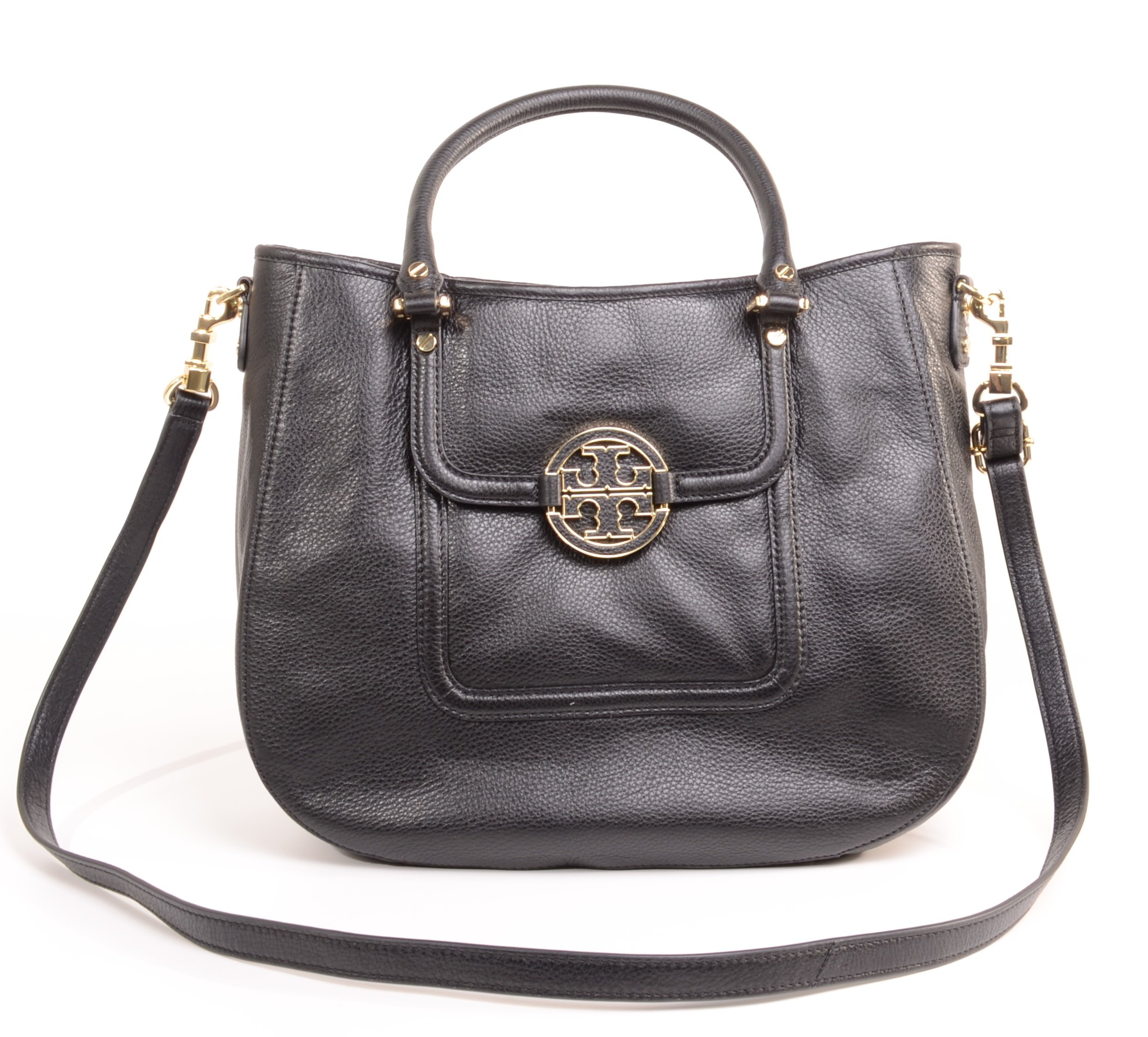 Tory Burch Pebbled Leather Crossbody Shoulder Bag Handbag Style No. 50009500 (Black) by Tory Burch