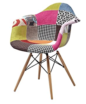 ArredinItaly Petit Fauteuil Design Rembourré Et Housse En Tissu - Fauteuil design patchwork