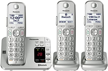 909433cb7e74 Image Unavailable. Image not available for. Color: Panasonic PANASONIC  Link2Cell Bluetooth Cordless Phone with Answering Machine KX-TGE463S - 3  Handsets (