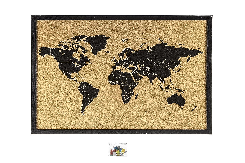 Bacheca in sughero con mappa del mondo, 60x 40cm, colore: nero 60x 40cm Interkart