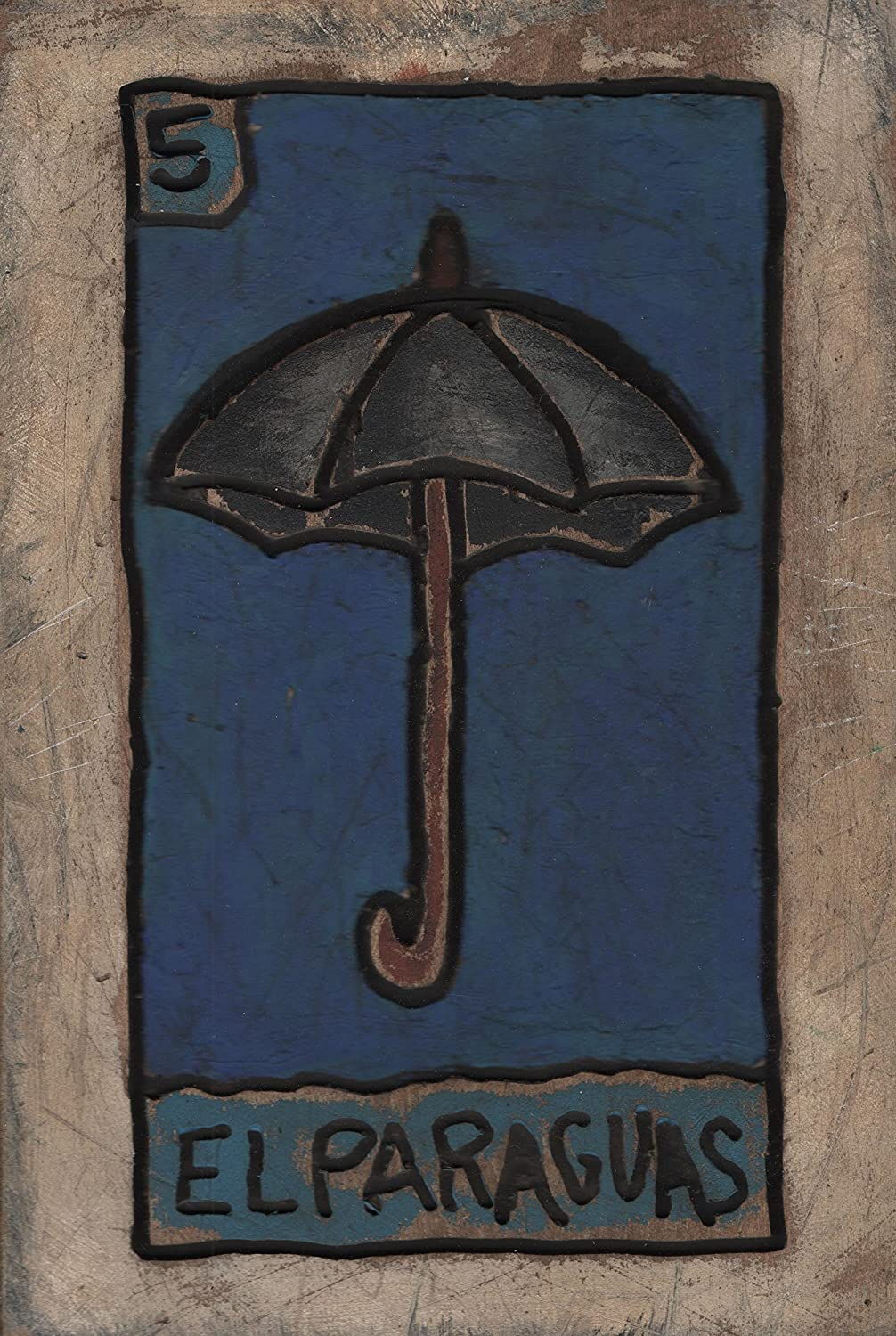 Amazon.com: Loteria Carved & Painted Wood Plaque, El Paraguas, Umbrella Weathered Wooden Wall Art,, measure: approx. 8 X 11