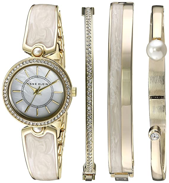Anne Klein Women's AK/2482IVST Swarovski Crystal Accented Gold-Tone and Ivory Watch and Bangle Set