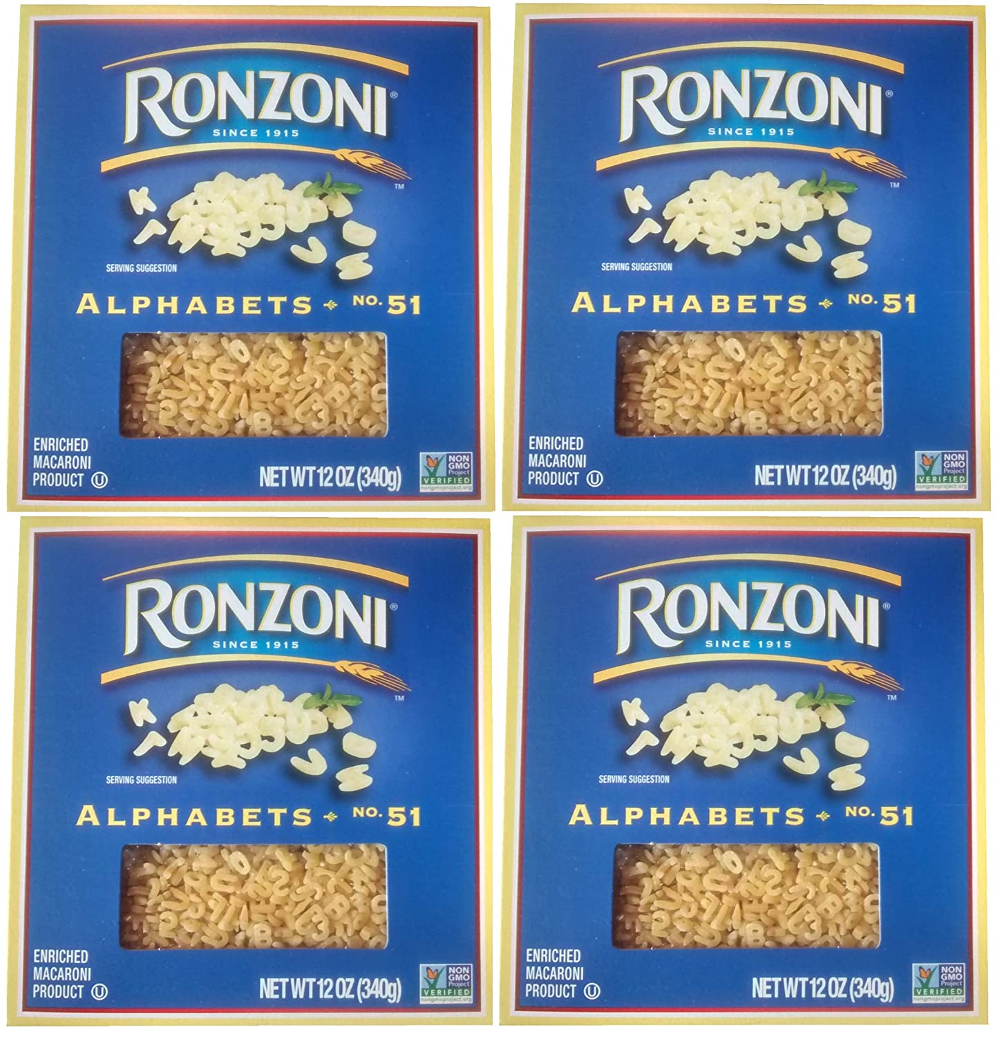 Ronzoni Pasta Alphabet, 12-Ounce Boxes (Pack of 4)