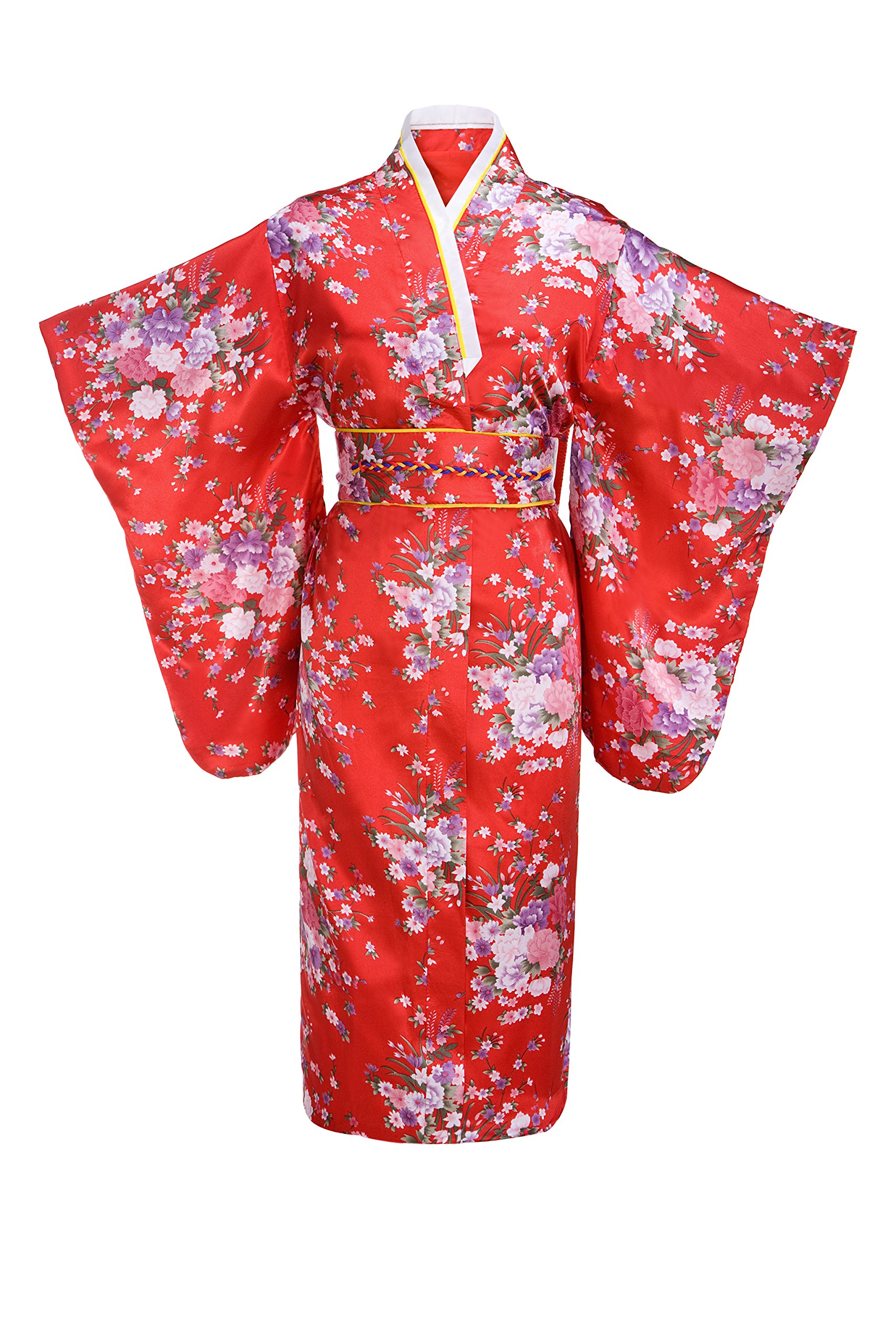 Old-to-new Women's Silk Traditional Japanese Kimono Robe With Floral Print Red