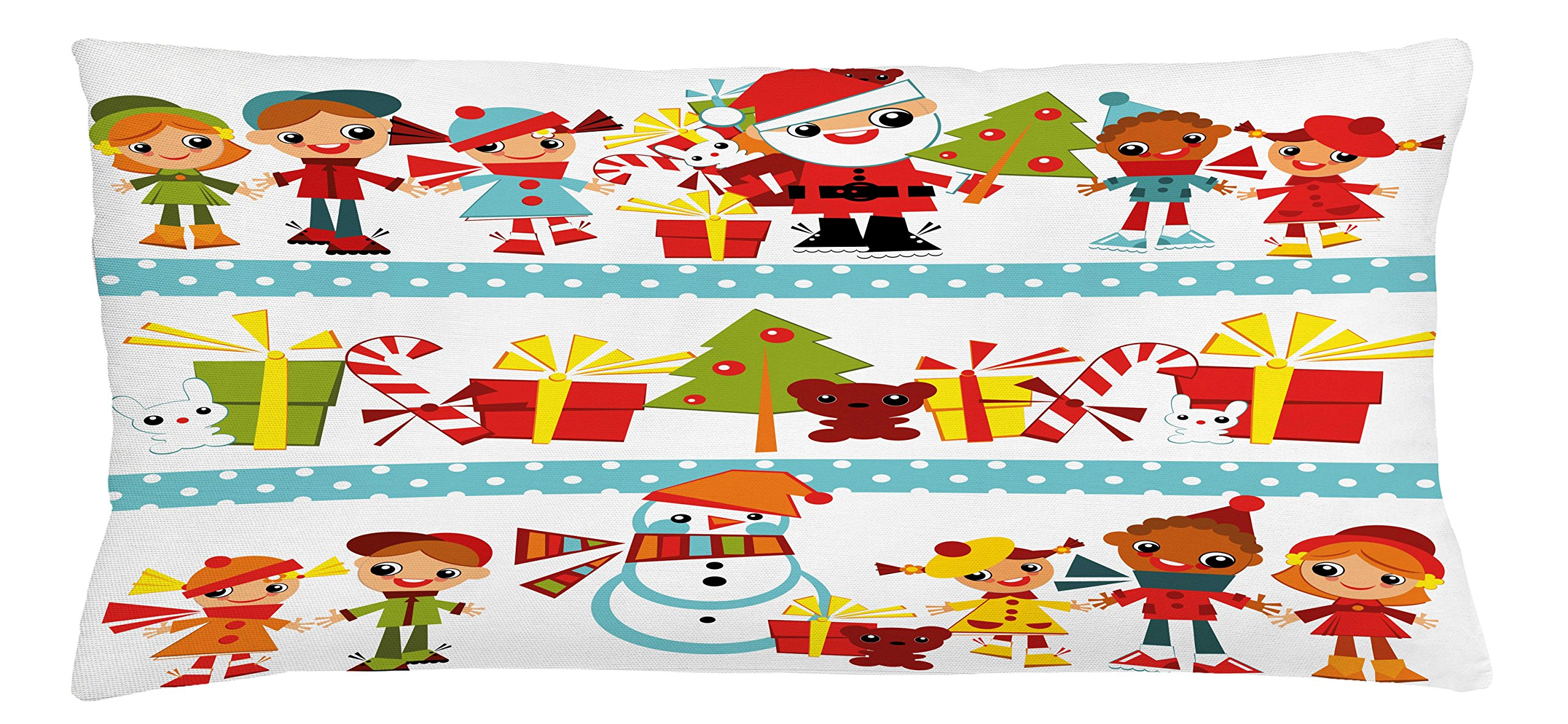 Ambesonne Kids Christmas Throw Pillow Cushion Cover, Santa Giving Surprise Presents to Joyful Children from Around The World, Decorative Square Accent Pillow Case, 36 X 16 inches, Multicolor