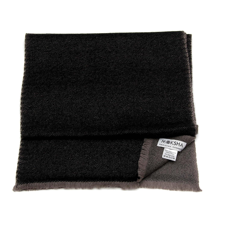 100% Cachemire pour hommes, Luxe Écharpe réversible en cachemire (26/2 Yarn Composition) Noir et Gris Echarpe cachemire pour hommes, écharpe de cachemire avec Tassel