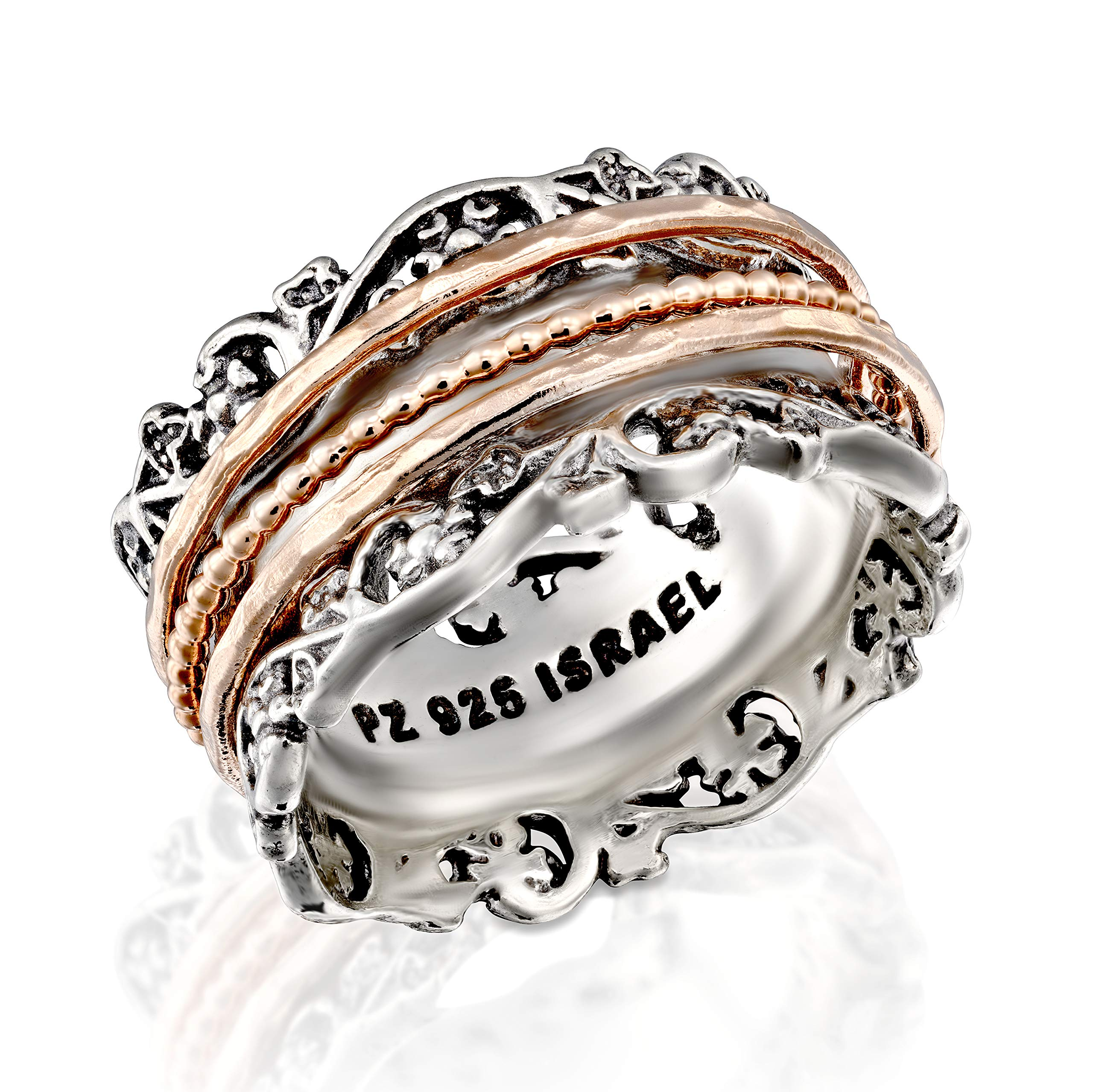 Paz Creations .925 Sterling Silver and Rose Gold Over Silver Spinner Ring (7), Made in Israel by PZ
