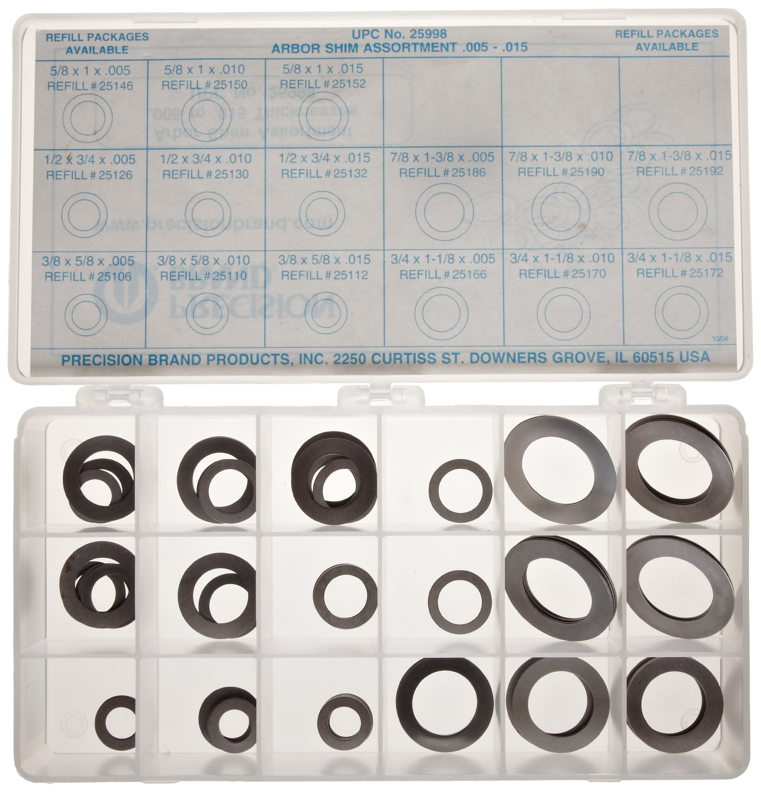 Steel Arbor Shim Assortment Kit, Matte, Full Hard, AISI 1008-1010 For Chemistry, 0.005'', 0.010''/0.015'' Thickness (Pack of 150) by Small Parts