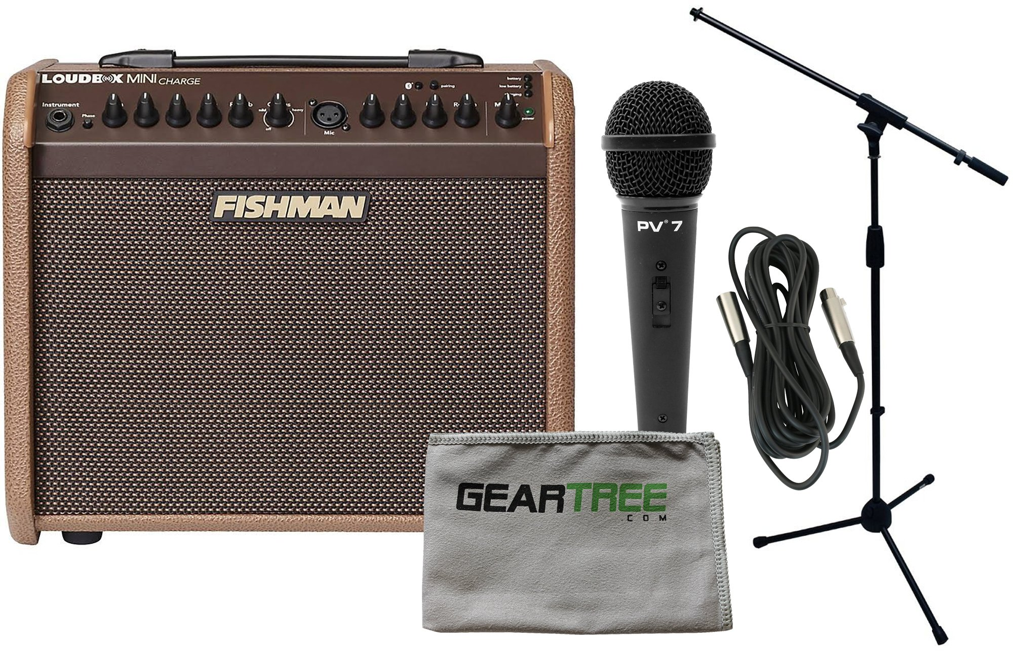 Fishman Loudbox Mini Charge Battery Powered Acoustic Guitar Amp Bundle
