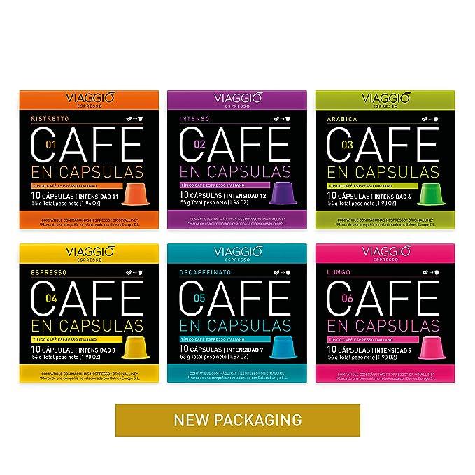 VIAGGIO ESPRESSO - 60 Cápsulas de Café Compatibles con Máquinas Nespresso. (SELECCIÓN CLÁSICOS)