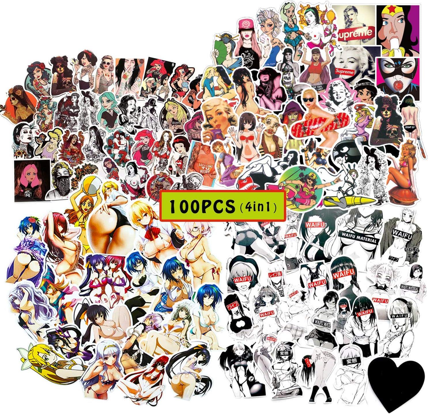 Kilmila Bunny Anime Sexy Girl Stickers [100 pcs] Cute Lady & Loli Sticker for Adult, Laptop Water Bottle Bike Car Motorcycle Bumper Luggage Skateboard Graffiti