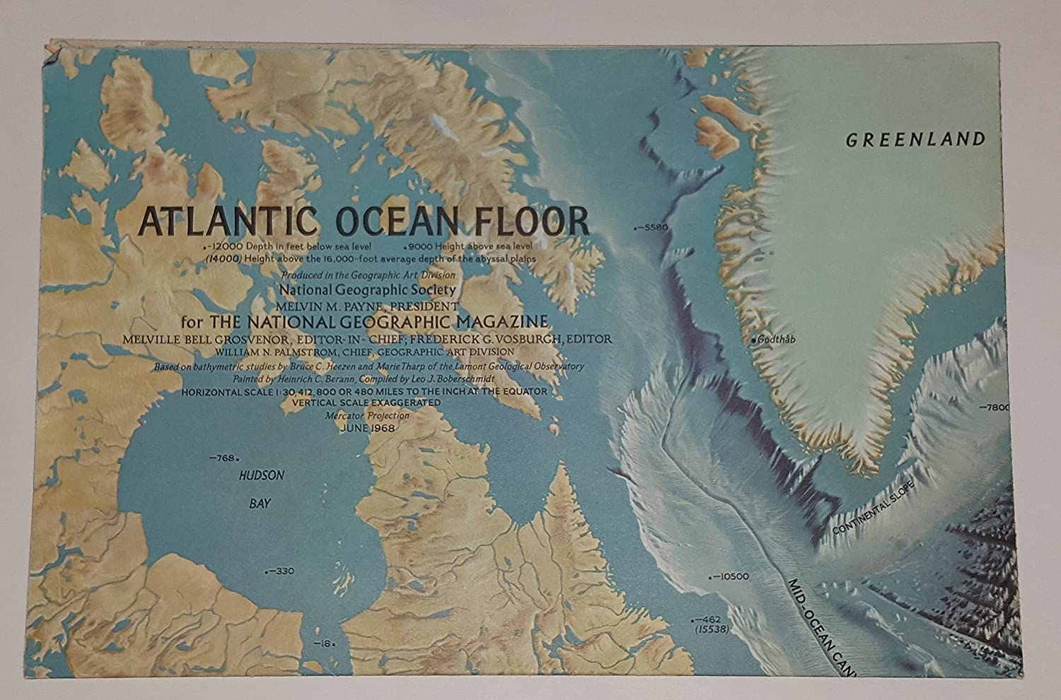 THE FLOOR OF THE OCEANS GEOGRAPHICAL SOCIETY WORLD MAP PRINT PREMIUM POSTER