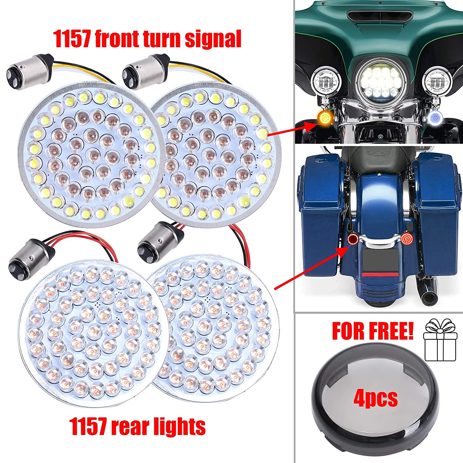 Audexen 2' LED Turn Signal Kit for Harley 1157 Base White/Amber Front Turn Signal bulbs + 1157 Double Connector Red Rear Light + Black Lens for Harley Street Glide