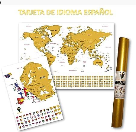 Global Walkabout ESPAÑOL - Mapa del rasguño mundial y mapa de rasguño europeo adicional con fondo de banderas - Regalo De Viaje (White): Amazon.es: Oficina y papelería