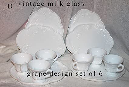 0dd801881055 Image Unavailable. Image not available for. Color: Vintage Indiana Colony Milk  Glass Set of 6 White Harvest Grape ...