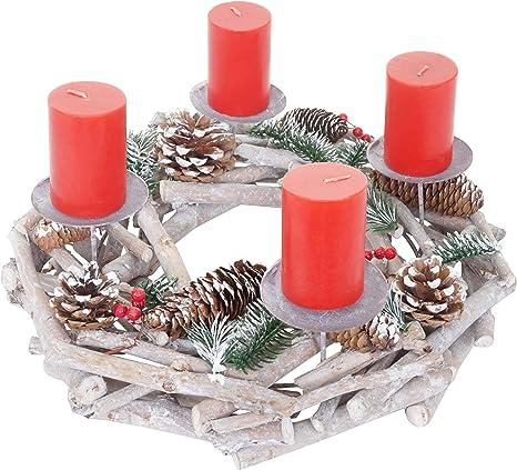 LED Kranz Weihnachtsgesteck m Kerzenhalter-Set Tischkranz Türkranz Adventskranz