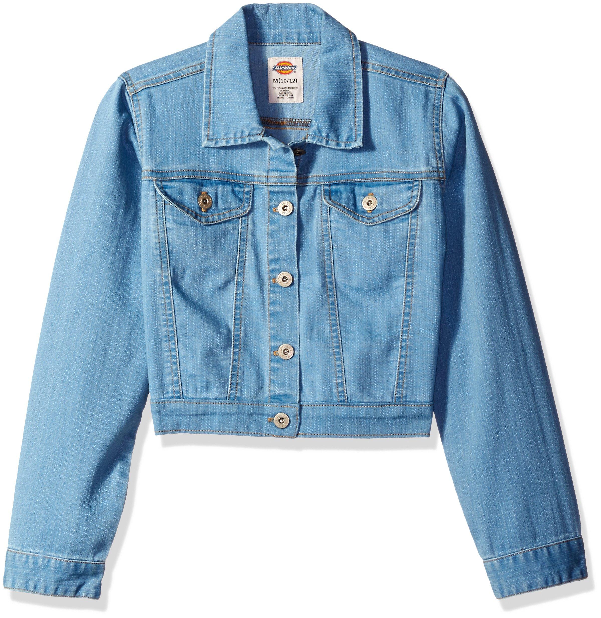 Dickies Girls' Big Girls' Denim Jacket, Bleach Stonewash with Tint, M