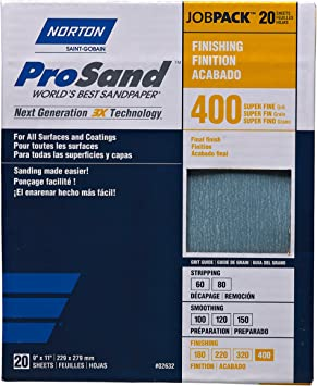 9 x 11 20 Sheets 400 Grit 3X Job Pack