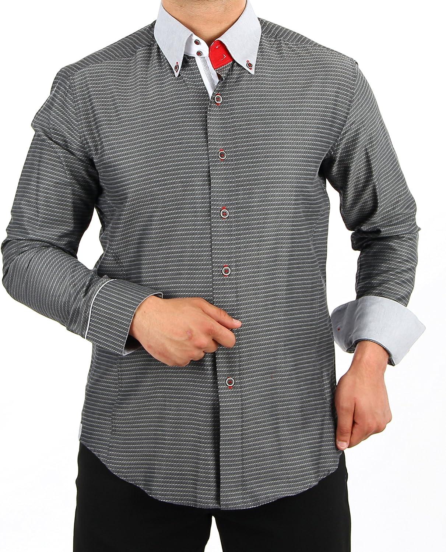 H K Mandel - Camisa casual - con botones - Lunares - para hombre gris XXXL: Amazon.es: Ropa y accesorios