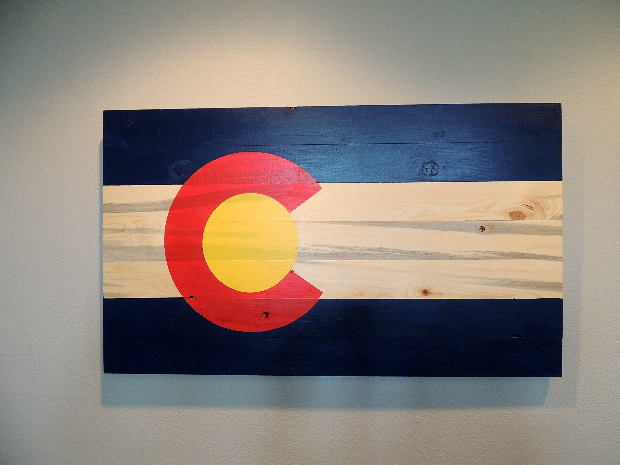 Colorado Flag on Blue Pine Beetle Kill Wood 14'' x 24''