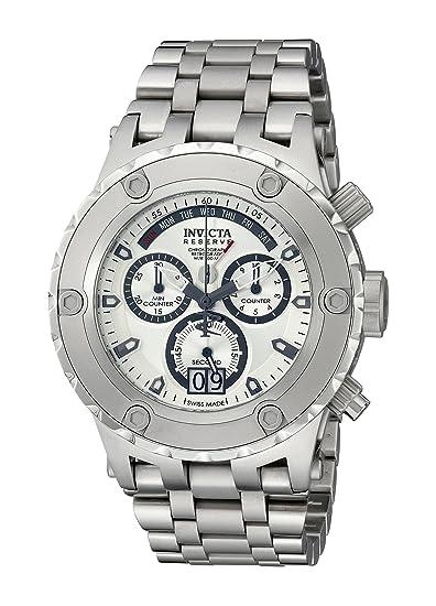Invicta Caballero 1565 Reserve cron-grafo Silver Dial Stainless Steel Reloj: Amazon.es: Relojes