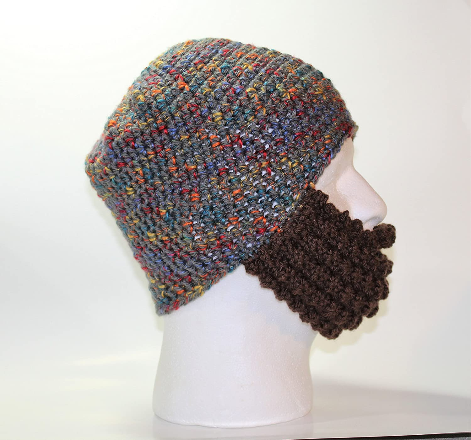 Amazon Handmade Crochet Bearded Hat In Grey With Multi Color