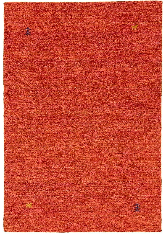 CarpetFine  Gabbeh Loom Teppich 90x160 cm Rot - Einfarbig