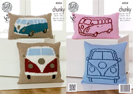 King Cole 4324 Knitting Pattern Camper Van Cushion Covers To Knit In