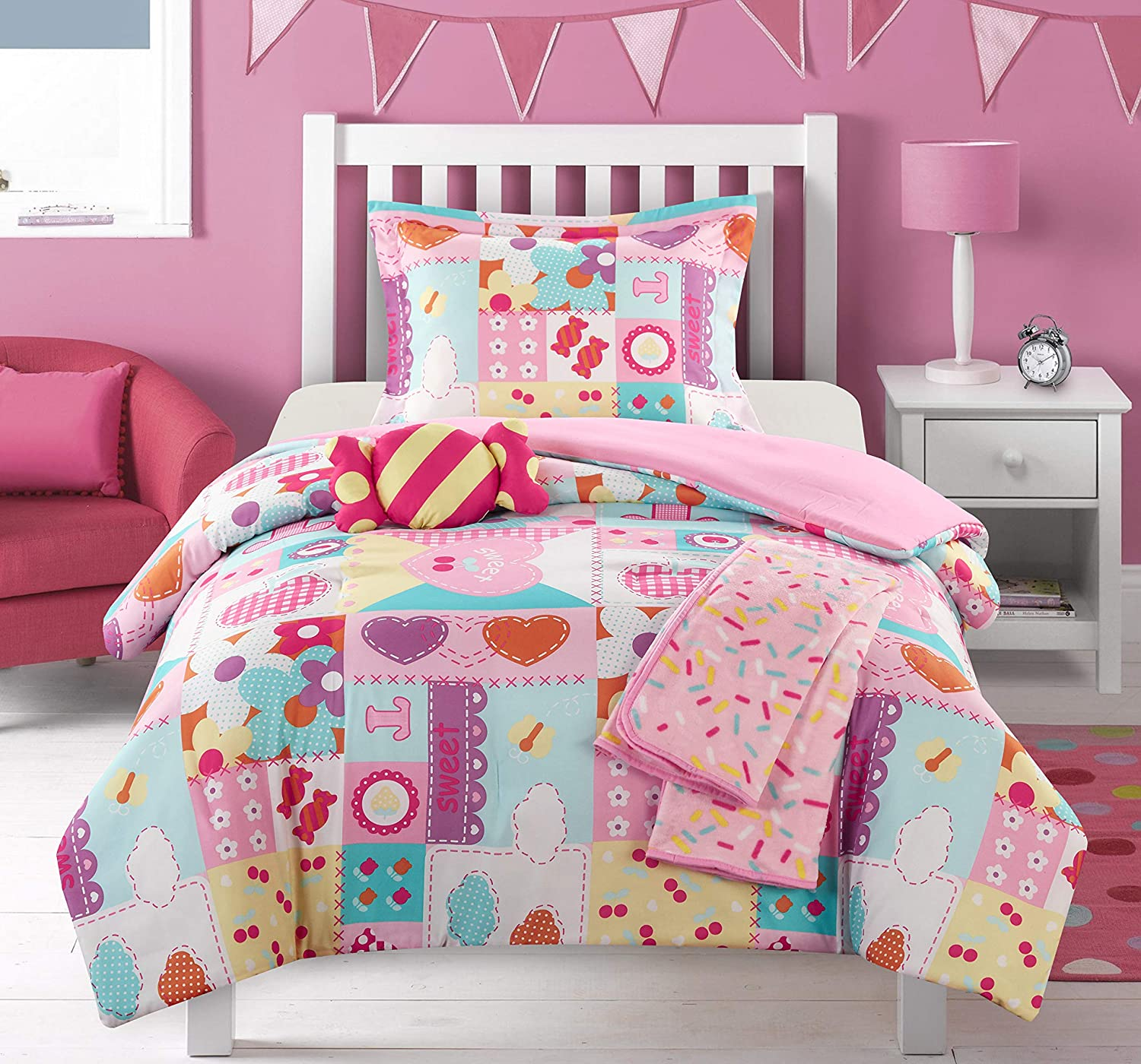 Chic Home Candy 4 Piece Comforter Set Stitched Patchwork Life is Sweet Theme Youth Design Bedding-Throw Blanket Decorative Pillow Sham Included, Twin