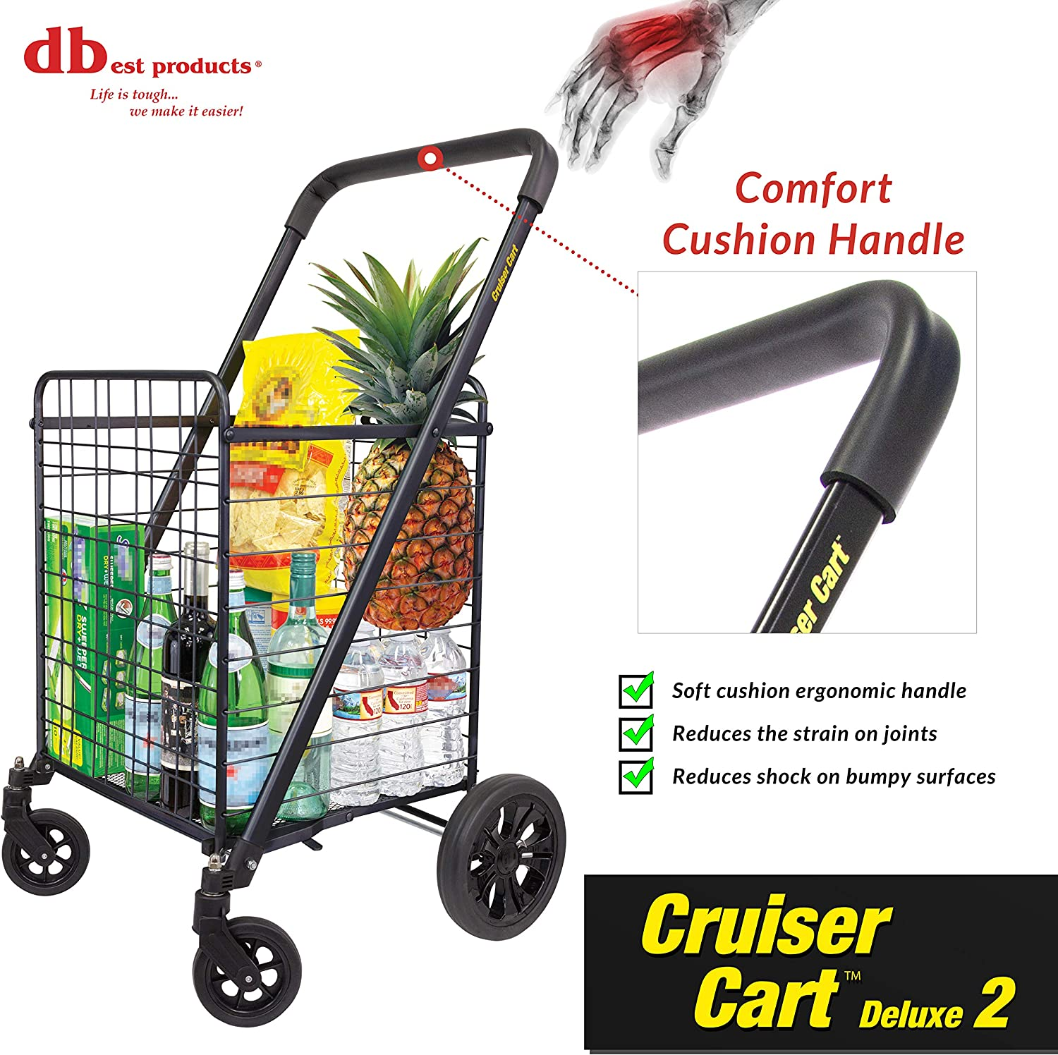 DBEST Products Cruiser Cart 360 Foldable Shopping Utility Basket on Wheels Red for sale online