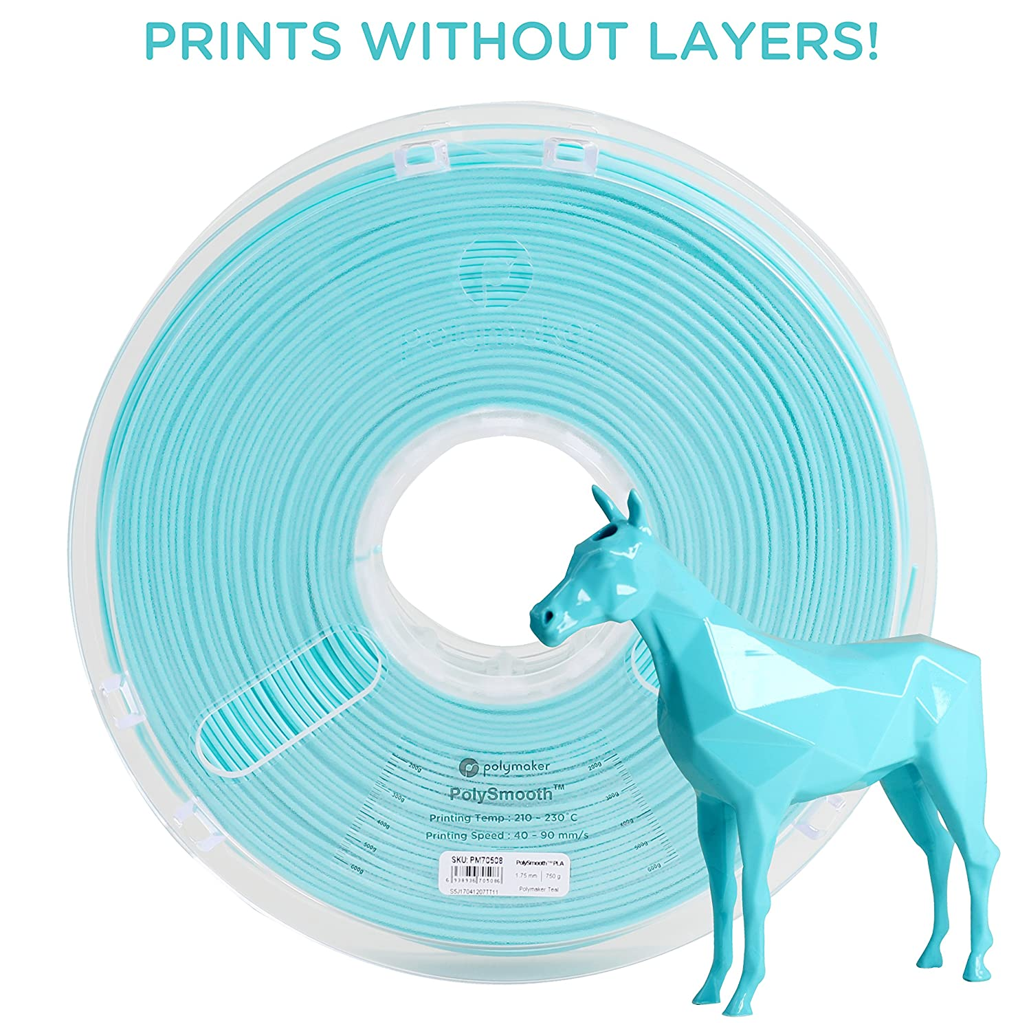 Polymaker PolySmooth 3D Printer Filament, Layer-Free 3D filament, Polymaker Teal, 2.85 mm Filament, 750g