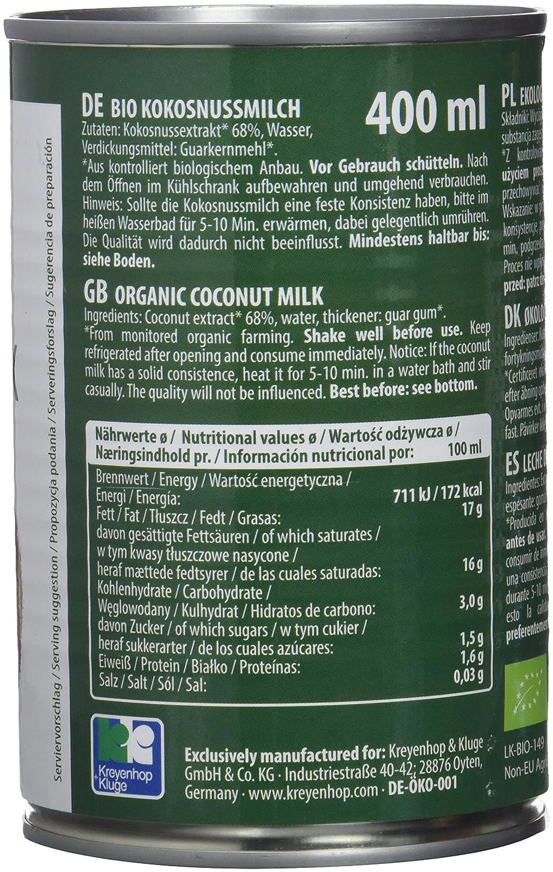 Bioasia Leche de Coco Orgánica, Contenido de Grasa 18% - 12 Latas: Amazon.es: Alimentación y bebidas
