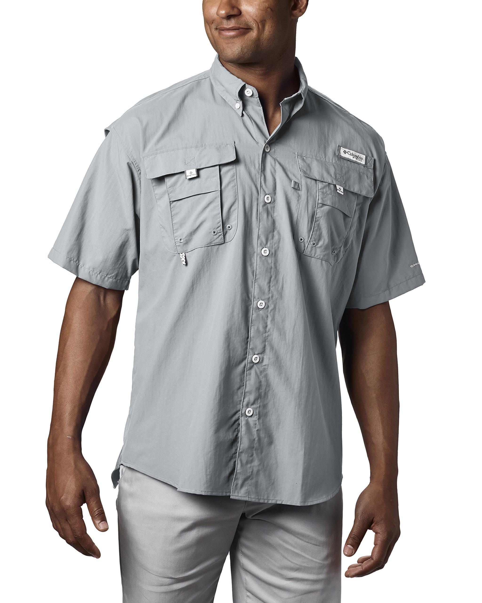Columbia Men's PFG Bahama II Short Sleeve Shirt, Cool Grey, X-Small