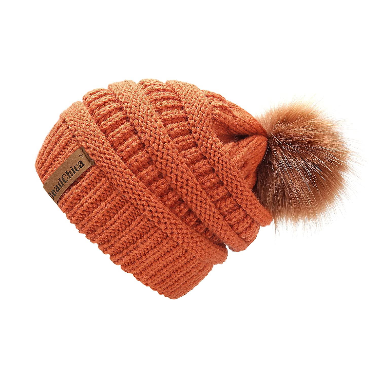 9934843eea6 Winter Knit Beanie Slouchy Hat Soft Thick Warm Beanie for Women with Faux  Fur Pompom Skull Caps (Orange) at Amazon Women s Clothing store