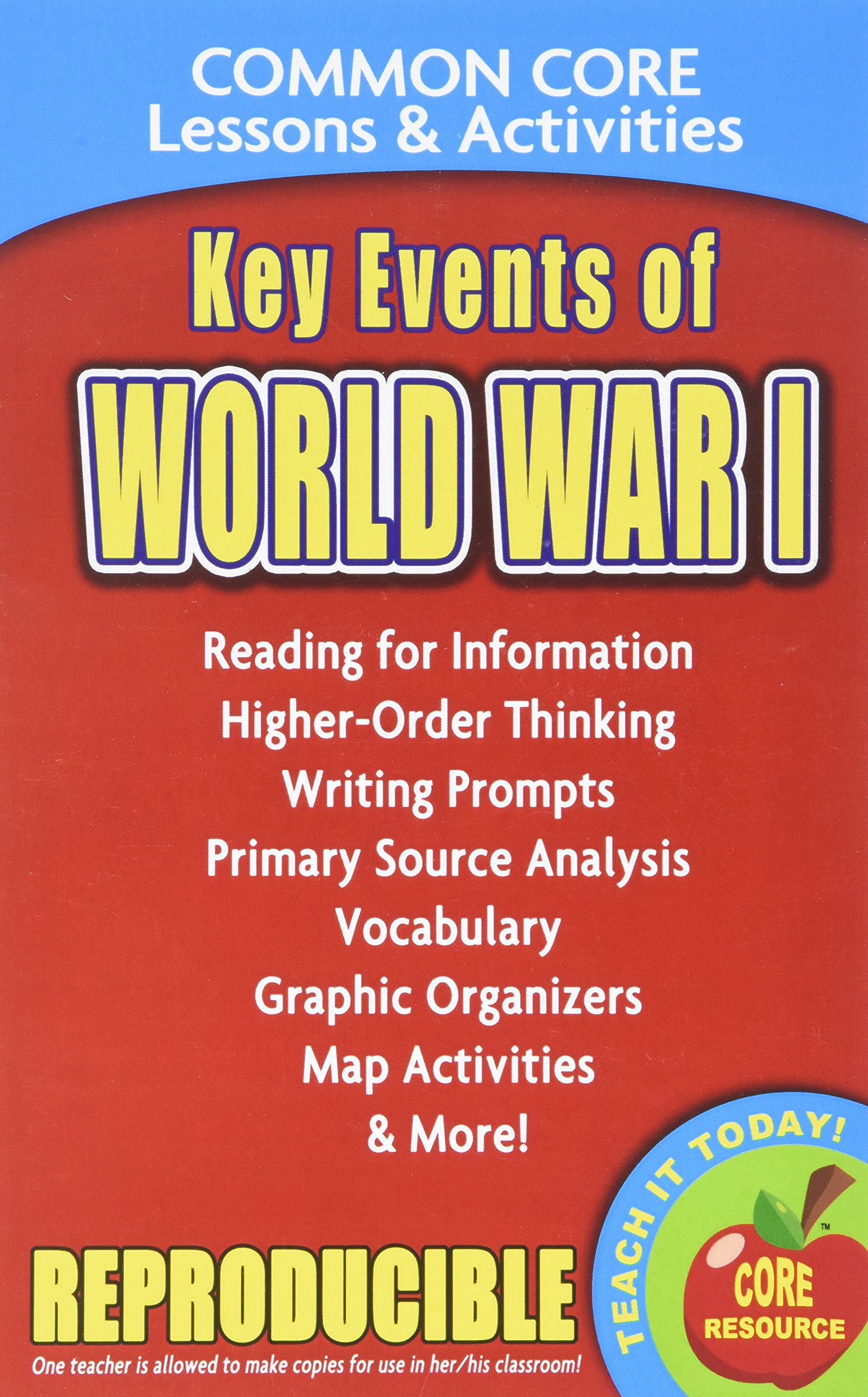 Read Online Key Events of World War I - Common Core Lessons and Activities pdf