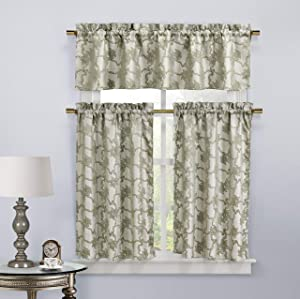 Home Maison Kira 3 Piece Kitchen Curtain Set 56 in. W x 15 in. L in Linen, 56x15 (1 Piece), 28x36 (2 Pieces)