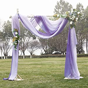 NICETOWN Artificial Wedding Ceremony Arch Decor Scarfs, Romantic Purple Ombre Sheer Scarf Curtains Window Valances for Bed Canopy/Birthday Party, 2 PCs, 60 by 216 inch