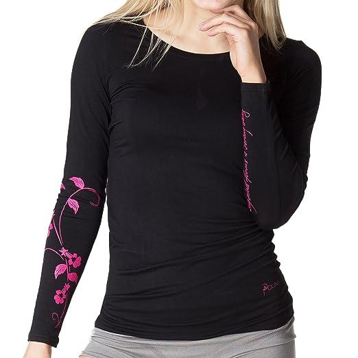 Shirt POLINA langarm schwarz (Größe M) | Performance Lifestyle Collection des Ballett-Stars Polina Semionova| aus hochwertiger Bambus-Viscose | ideal für Ballett-Training, Yoga, Pilates und Freizeit