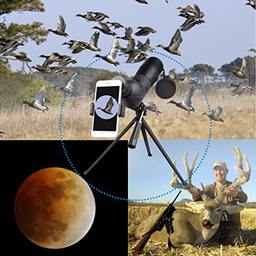 Spotting Scope,Huicocy 20-60x60mm Zoom 39-19m 1000m Fully Multi Coated Optical Lens Fogproof and Movably Eyepiece Rubber Design Telescope with Quick Smartphone Mount Kit and Tabletop Tripod for Target