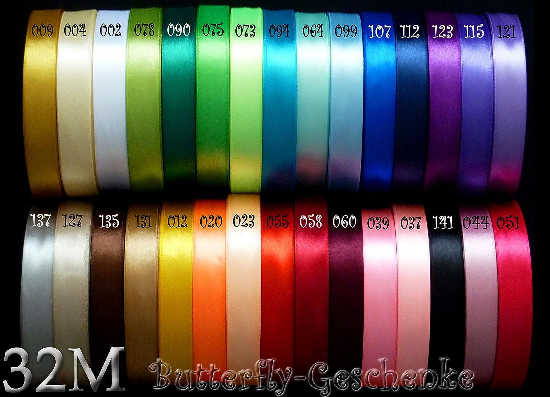 32m Satinband 12mm (002 weiß) // Schleifenband einseitiges Hochzeit Taufe Deko Band Dekoband Geschenkband 15mm 1, 5cm 10mm 1cm